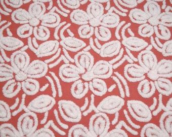 30 x 24 Inches - Rare Red and White Hofmann Flowers Vintage Chenille Bedspread Fabric Piece