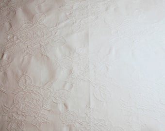 White Vintage Fabric | White Roses Fabric | Vintage Roses Fabric | Lovely All-White Embossed Roses Vintage Cotton Fabric - 30 x 25 Inches