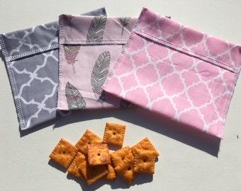 Reusable Snack Bag Set FREE SHIPPING Set of 3 Pink Gray Quatrefoil