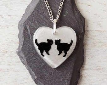 Black Cat Necklace, Two Black Cats in White Resin Heart Pendant, Cat Jewellery, Resin Jewellery, Heart Jewellery, Pet Animal, UK, 164