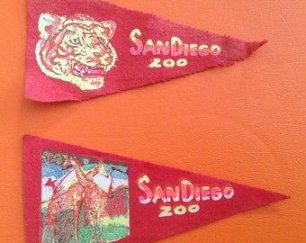 SALE Vintage Mini San Diego Zoo Pennants