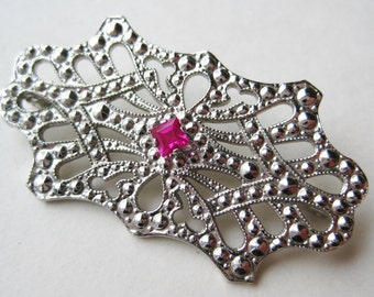 Vintage Art Deco Sterling Silver Filigree Red Ruby Brooch Pin