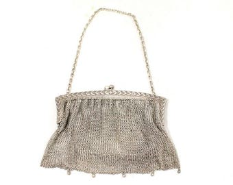 1910s Nickel Silver Purse - Authentic Antique Metal Mesh Bag - Olive Leaf Laurel Leaves Design - Classical Beauty - Chain Strap - 48933