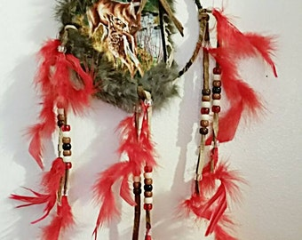Deer Mandela Doe and Fawn w/Rabbit Fur and Brown Leather Trim Wall Hanging Red Feathers