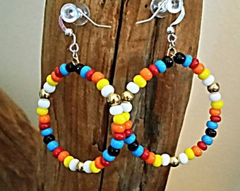 Beaded Earrings Hoop NDN American Indian Regalia