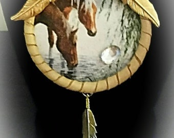 Leather Necklace Pendant Horse NDN Regalia American Indian