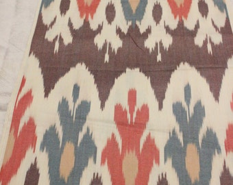 Uzbek traditional cotton woven ikat fabric
