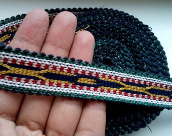 Uzbek handwoven cotton trim Jiyak. Tribal ethnic, boho, hippy trim TR071