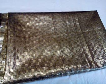 Uzbek vintage gold color brocade fabric 3 meters. VI0118