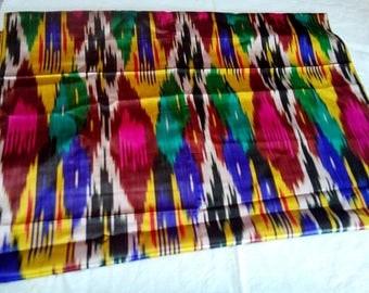 Uzbek vintage silk ikat fabric Han atlas 3,5 meters. VI002