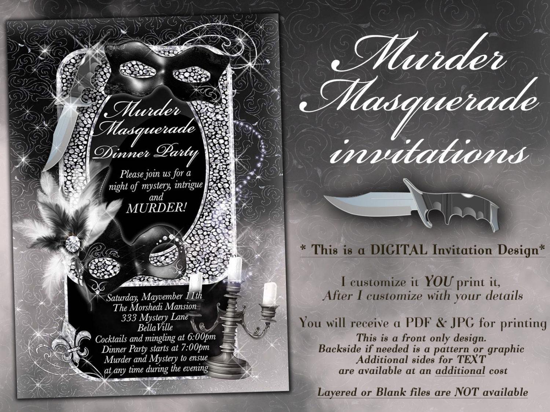 Masquerade Murder Mystery Party Invitation Murder Mystery