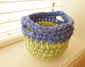 Crochet Rag  Basket-Crocheted Rag Bowl-Repurposed-EcoFriendly-Blue, Green Rag Basket-Shabby Chic-Rag Basket-Crochet Bowl-Crocheted Basket