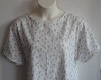 S & L Post Surgery FLANNEL Nightgown- Shoulder, Breast Cancer. Mastectomy, Heart/ Hospice/ Adaptive Clothing / Breastfeeding - Style Orgetta