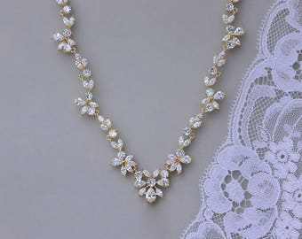 Gold Bridal Necklace, GOLD Crystal Necklace, Crystal Bridal Jewelry, Gold Wedding Necklace, Crystal Wedding Jewelry, ASHLEY 2G