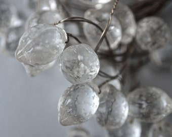 Czech Two Clear Lemon Beads 1/2 inch Vintage Chandelier Crystals Wedding Bridal Bouquet