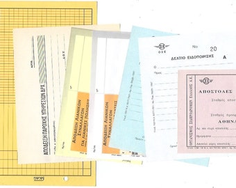 7 GREEK OFFICE Paper EPHEMERA Pack - Antique papers from Greece