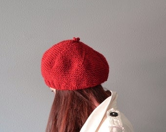 Beret Women, valentine day, red tam knit, valentine gift, red knit beret, Tam women, Hat winter, Hat knit