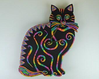 Sittin' Kitten Cat Clock or Wall Art Sculpture in Crazy Stripe Polymer Clay