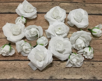 16 White Roses and Buds - BUDGET QUALITY - Silk Flowers, Artificial Flowers, Wedding, Flower Crown, Millinery, Hair Accessories