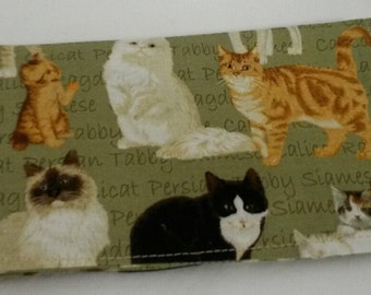 Various Cat Breeds Fabric Print Checkbook Cover Coupon Holder Clutch Purse Billfold Ready-Made