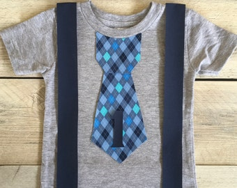 Iron On Tie with Suspenders and Argyle Tie Applique DIY First Birthday