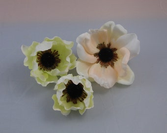 Lot of 3 Assorted Anemone -Off white - blush