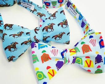 Off to the Rces Men's Bow Tie, Adjustable Bow Tie, Horse Racing Bow Tie, Jockey Silks, Kentucky State, Self-tie, Pre-tied, Blue Bow Tie