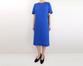 VINTAGE 1960s Knit Dress Blue Crochet Neckline