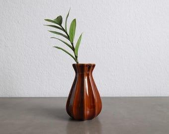 VINTAGE Ceramic Vase Small Bud Brown