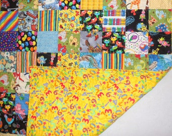 Baby Quilt - Baby Boy Quilt Handmade Patchwork Quilt I Spy Patchwork Quilt Baby GIft Baby Shower GIft One-of-a-Kind Quilt