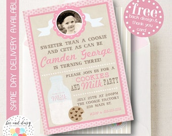 Vintage Cookies and Milk Invitation, Cookies and Milk Birthday Invitation, Milk & Cookies Party, Girl First Birthday, Girl Birthday, Invite