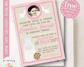 Vintage Cookies and Milk Invitation, Cookies and Milk Birthday Invitation, Milk & Cookies Party, Girl First Birthday, Girl Birthday, Invite