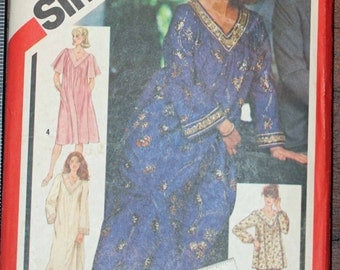 Size Large 16-18 Simplicity 5216 Night Gown Pajamas Shirt Top Caftan Vintage  Misses Womens Sewing Pattern Sew Uncut