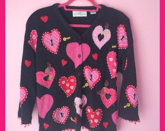 Vintage Valentine Hearts Beaded Button up Sweater Size Medium