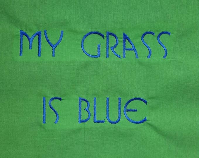 My Grass Is Blue Throw Pillow Bluegrass Custom Embroidered Pillow