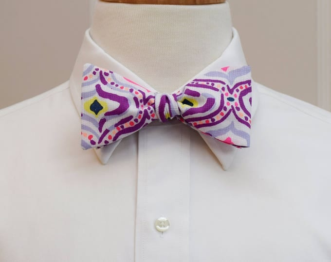 Men's Bow Tie, Big Escapade engineered Lilly print, purple, hot pink print, wedding bow tie, groom bow tie, groomsmen gift, prom bow tie,