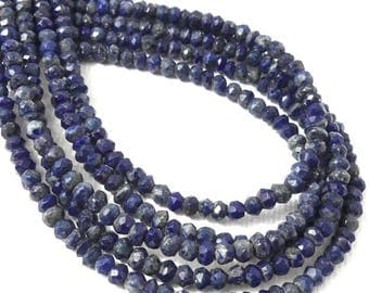 Lapis Lazuli Bead, 3mm, Rondelle, Microfaceted, Dark Blue, Pyrite, Natural Gemstone Beads, Untreated, Very Small, 13 Inch Strand - ID 2314