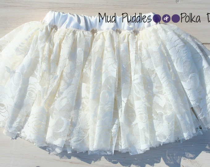 SIZE INFANT - 12 MONTHS Ready to Ship - Cream Vintage Style Lace Satin Lined Tutu Skirt LL1