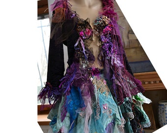 RESERVED Beautiful Unique Art To Wear Elastic Velvet Jacket JUST PURPLE Fairy Boho Hippie Gipsy Tattered