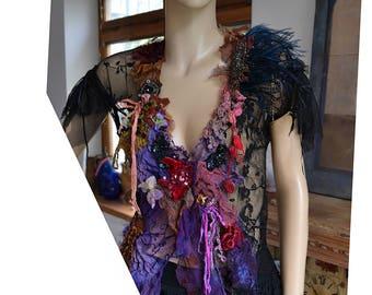Beautiful Unique Art To Wear Black Lacy Jacket VICORIAN GIPSY Fairy Boho Tattered Velvet  Forest