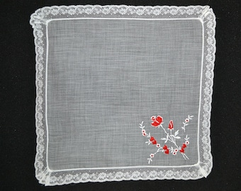 VINTAGE VALENTINE HANKIE, Valentines and Roses Embroidery Lace Edge Sweet Simple and Elegant, Excellent Condition