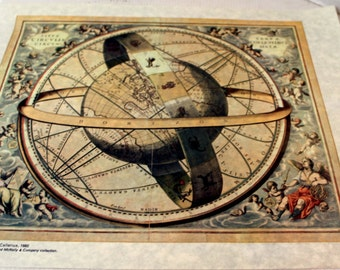 Armillary Sphere Full Color Parchment Paper  Collectible Map Wall Decor