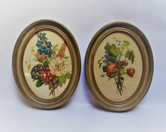 Reserved for Mae...faye - Framed Botanical Prints 2 Floral Oval Picture Frames
