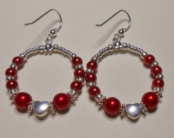 Red Pearl and Sterling Silver Heart Round Hoop Earrings