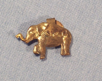 Vintage Brass GOP Republican Elephant Campaign Tab Button-Green Duck-Very Cool!-FREE SHIPPING!