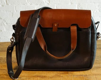 GENTLY USED - The Luxury Briefcase - Whiskey on Galloper Black (see photos)
