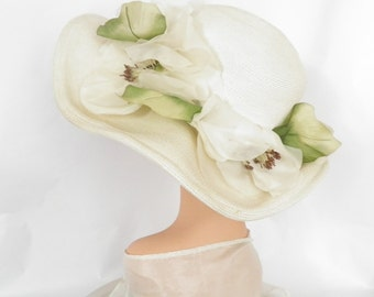 Kentucky Derby hat, vintage 1960s, white flowers, black velvet underbrim