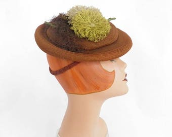 1940s tilt hat, vintage brown percher fascinator