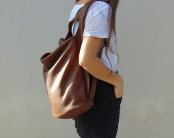 Leather backpack in brown  ,slouchy bag, everyday womens bag ,named Laoura ,made to order.