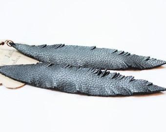 Black Leather Feather Earrings, feather earrings, leather earrings